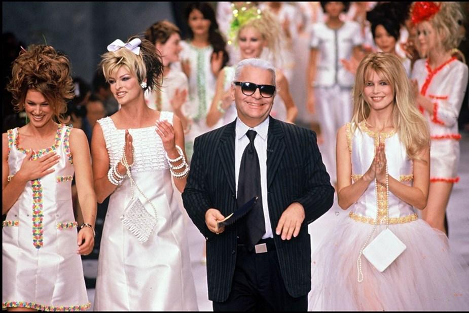 Cindy Crawford, Linda Evangelista, Karl Lagerfeld et Claudia Schiffer