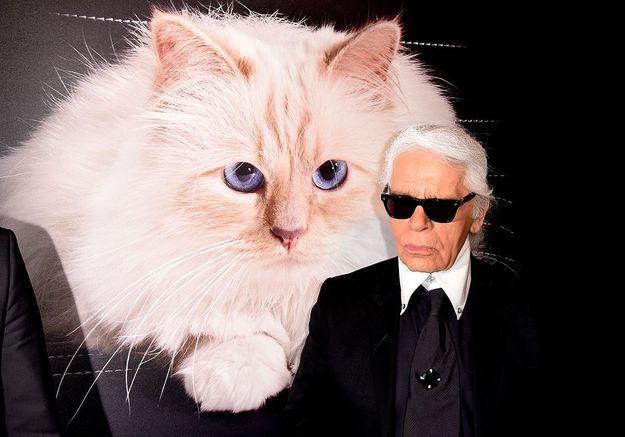 Karl Lagerfeld et sa chatte Choupette.